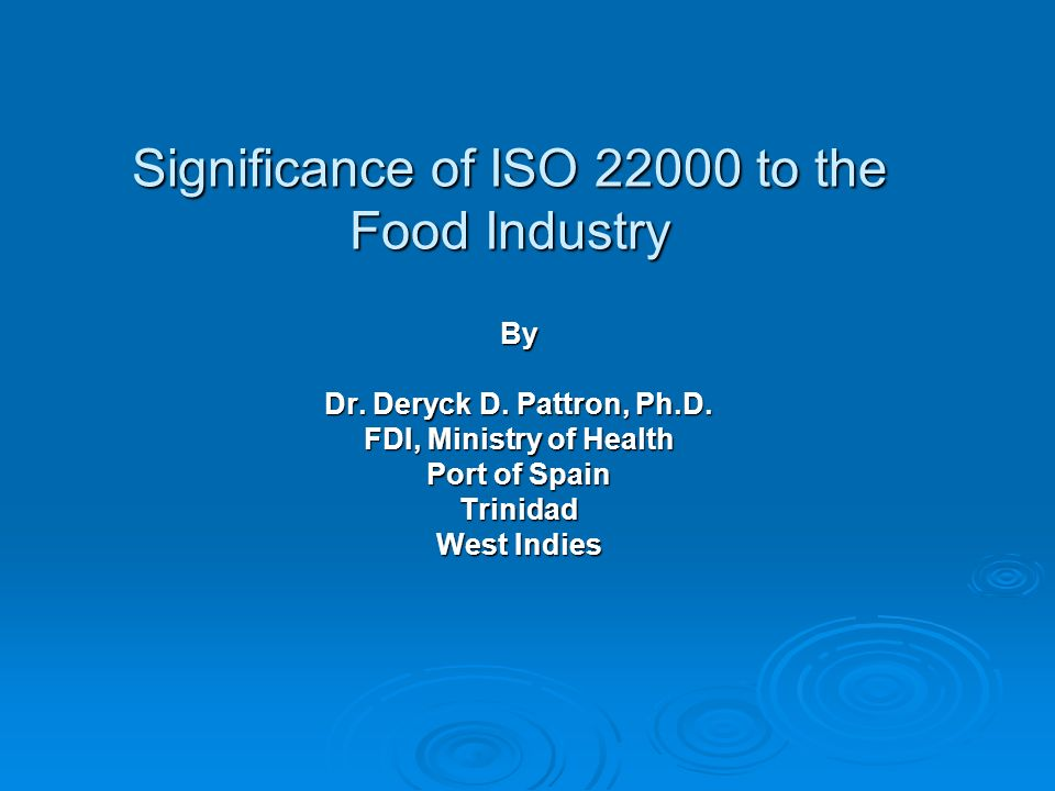 Significance of ISO to the Food Industry