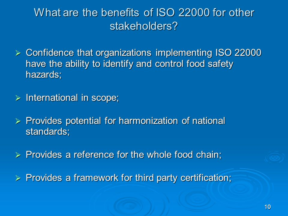 What are the benefits of ISO 22000 for other stakeholders