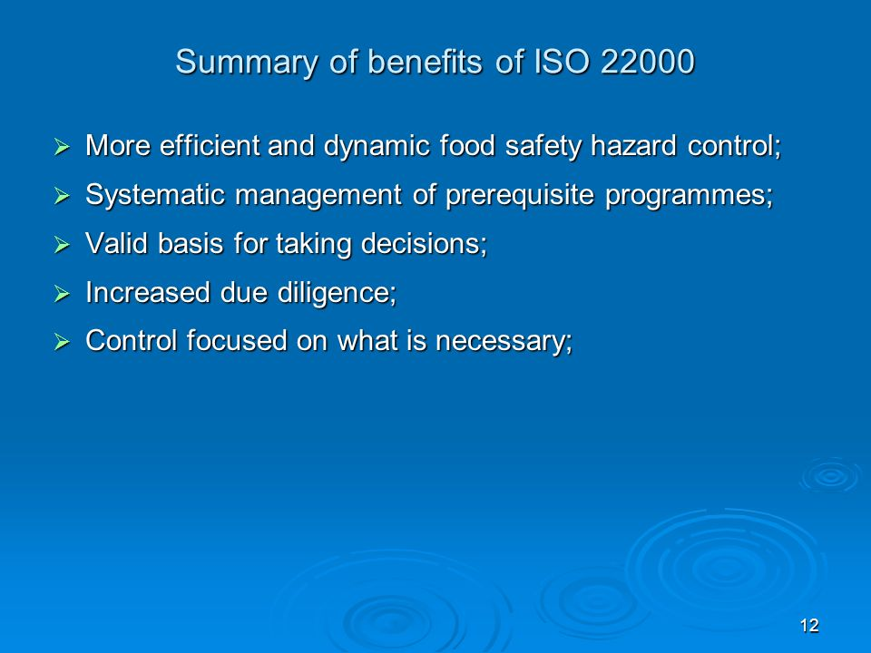 Summary of benefits of ISO 22000