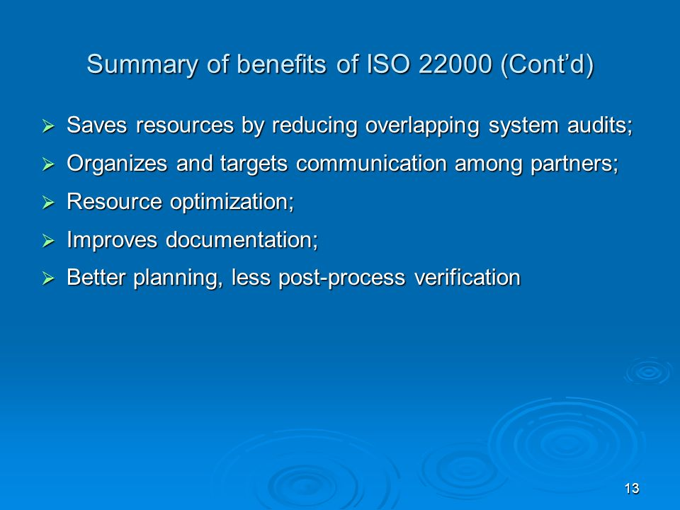 Summary of benefits of ISO 22000 (Cont'd)