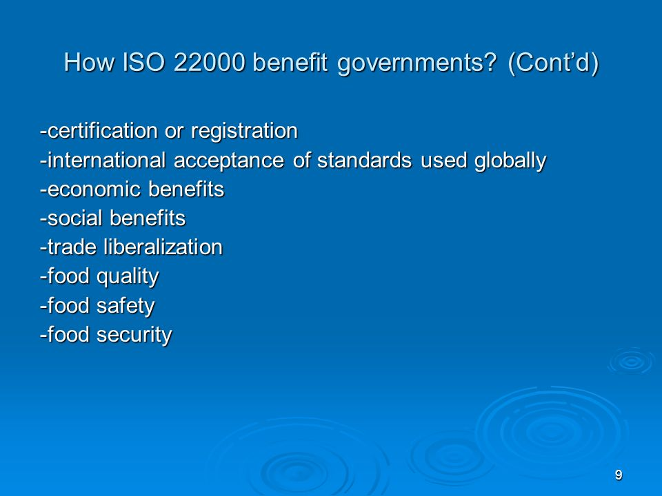 How ISO 22000 benefit governments (Cont'd)