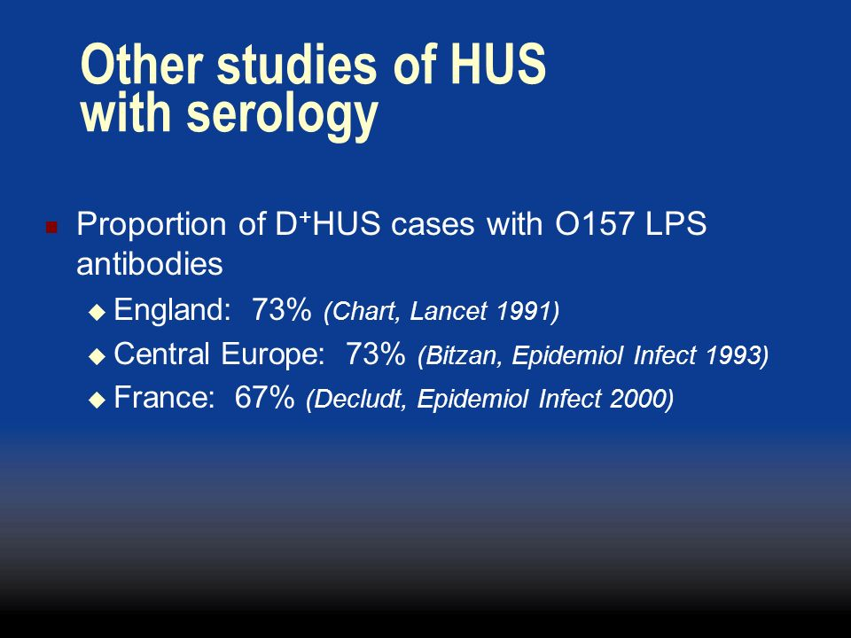 Other studies of HUS with serology
