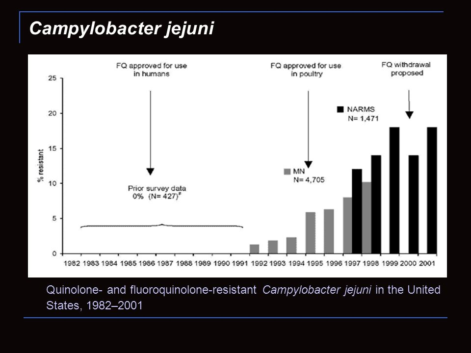 Campylobacter jejuni Quinolone- and fluoroquinolone-resistant Campylobacter jejuni in the United States, 1982–2001.