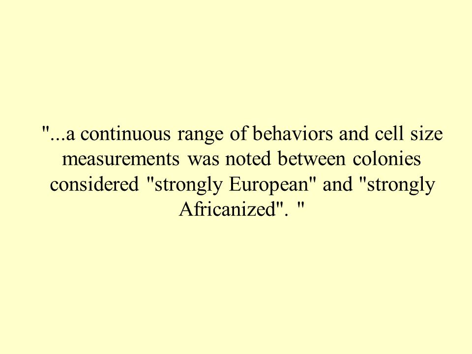 ...a continuous range of behaviors and cell size measurements was noted between colonies considered strongly European and strongly Africanized .