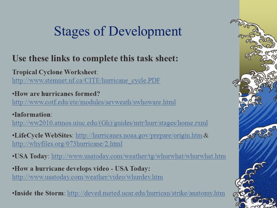 Stages of Development Use these links to complete this task sheet: