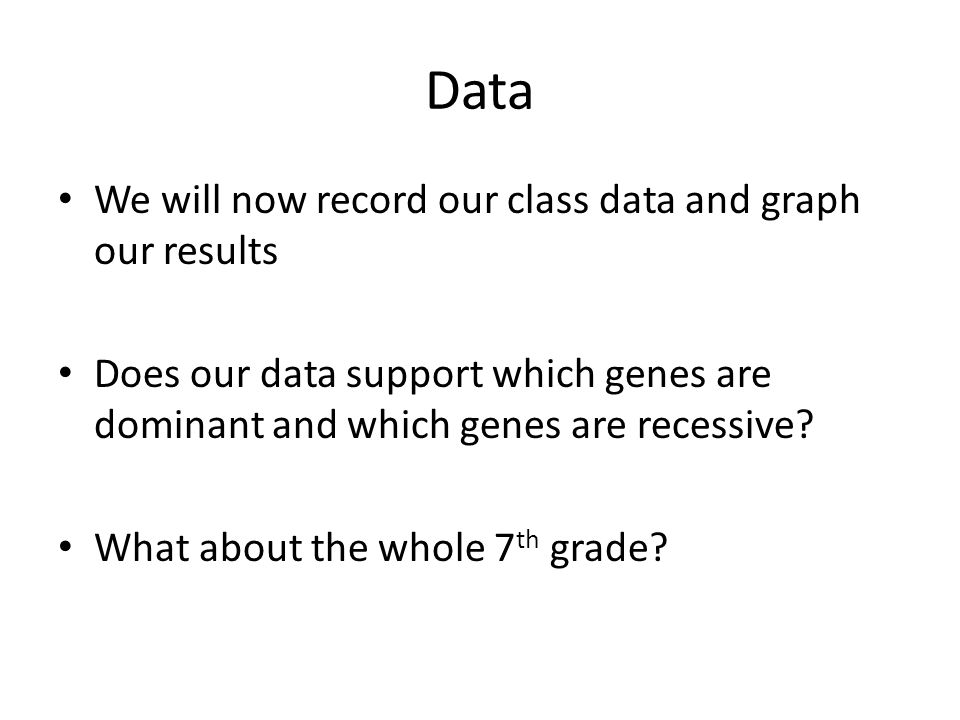 Data We will now record our class data and graph our results