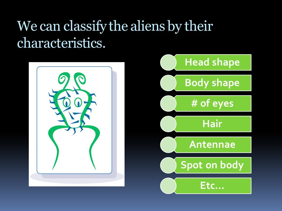 We can classify the aliens by their characteristics.