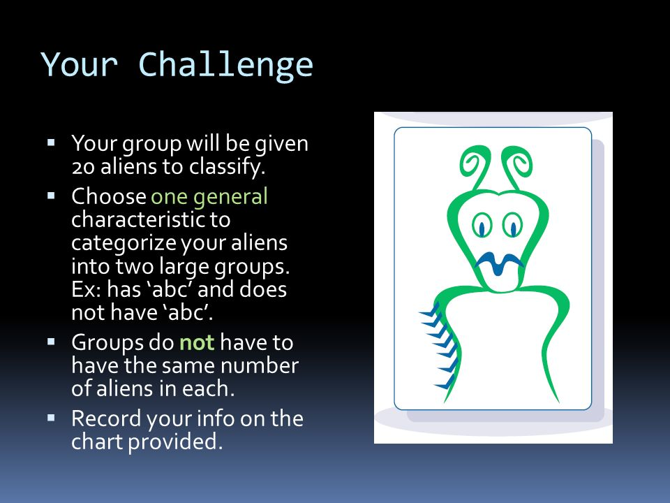 Your Challenge Your group will be given 20 aliens to classify.