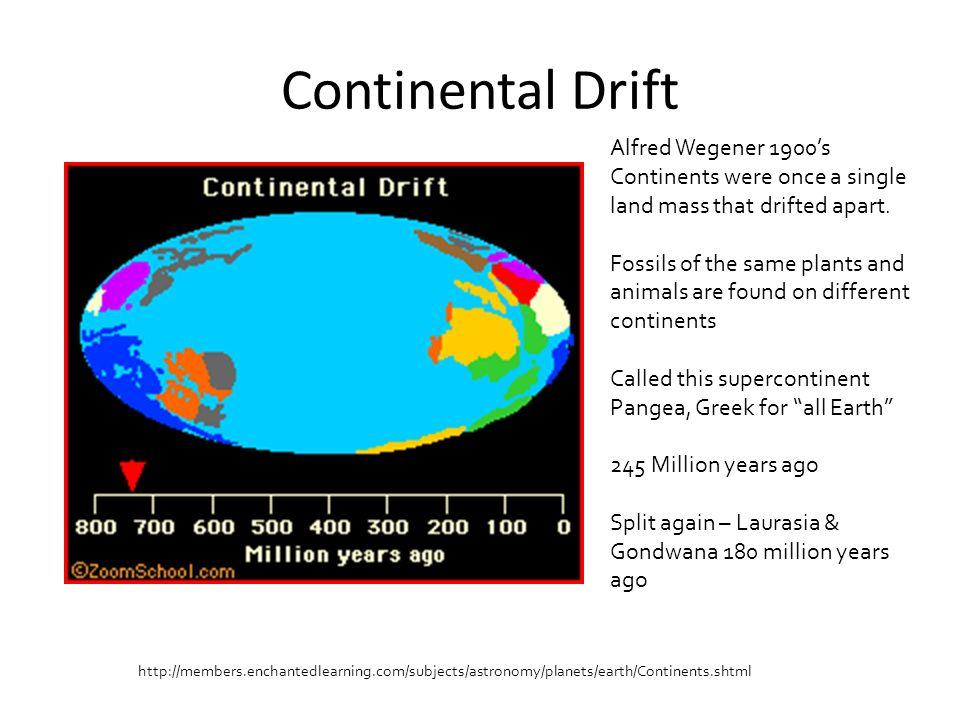 Continental Drift Alfred Wegener 1900's