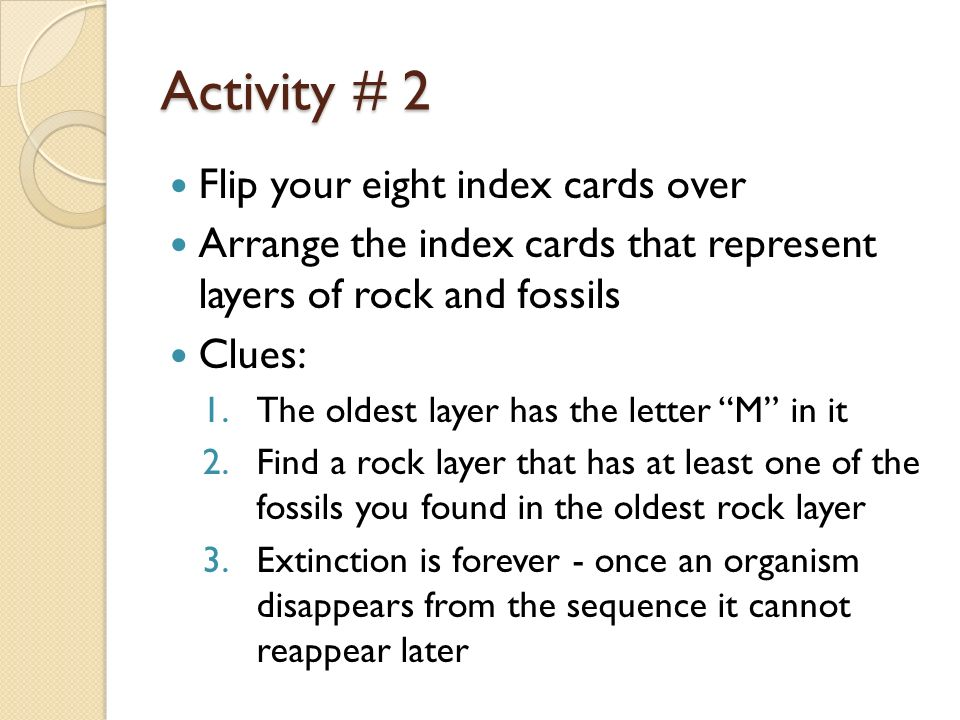Activity # 2 Flip your eight index cards over