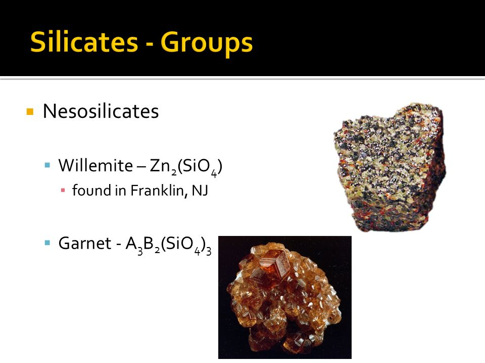 Silicates - Groups Nesosilicates Willemite – Zn2(SiO4)
