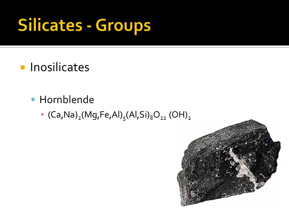 Silicates - Groups Inosilicates Hornblende