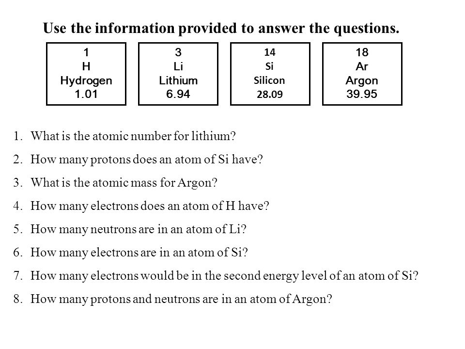 Use the information provided to answer the questions.