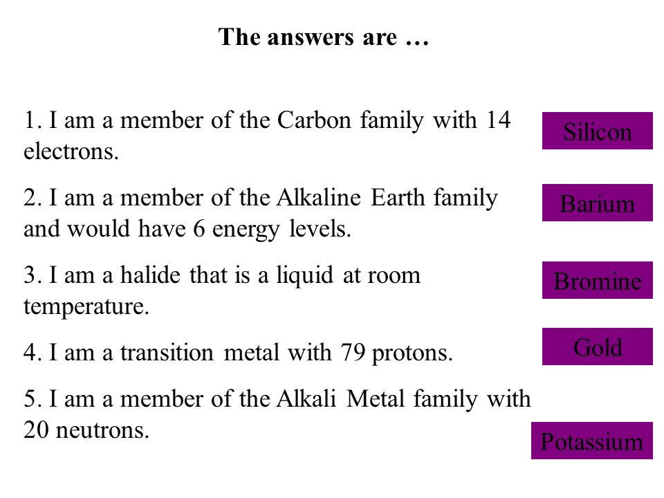 The answers are … 1. I am a member of the Carbon family with 14 electrons.