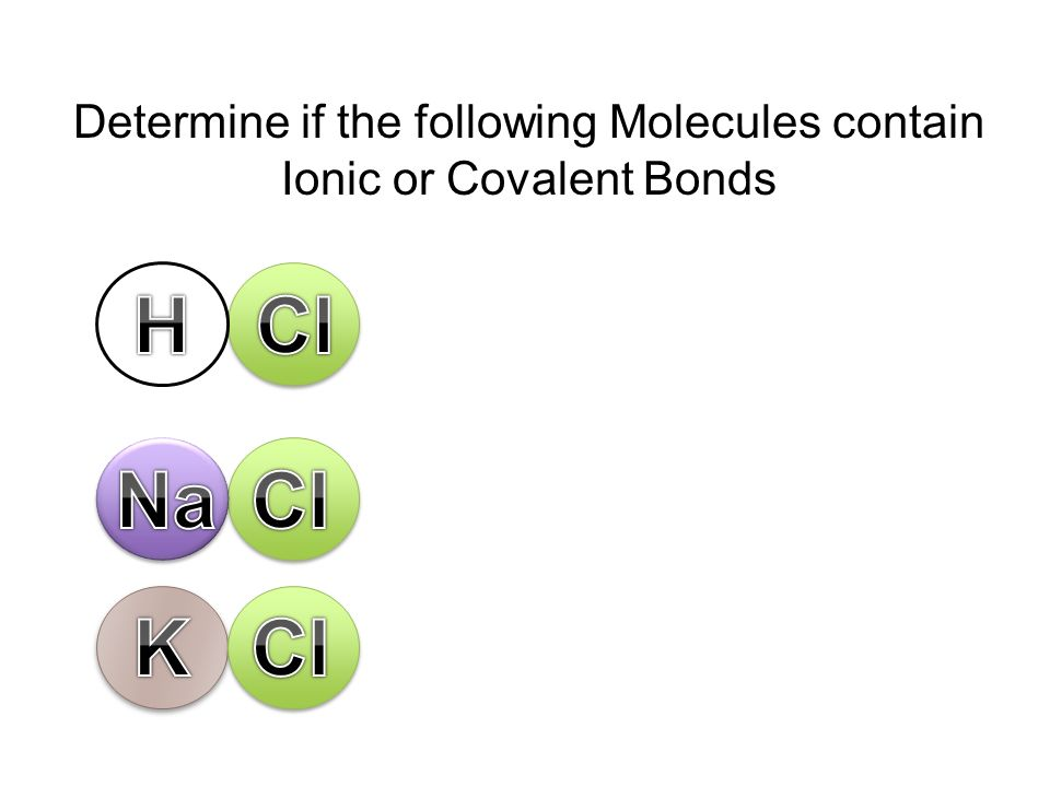 H Cl Na Cl K Cl Determine if the following Molecules contain