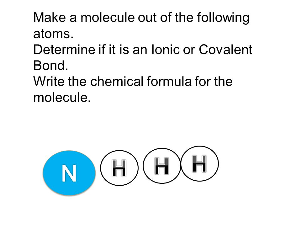 H H H N Make a molecule out of the following atoms.