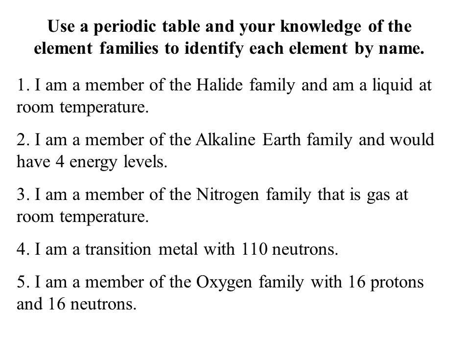 Use a periodic table and your knowledge of the element families to identify each element by name.