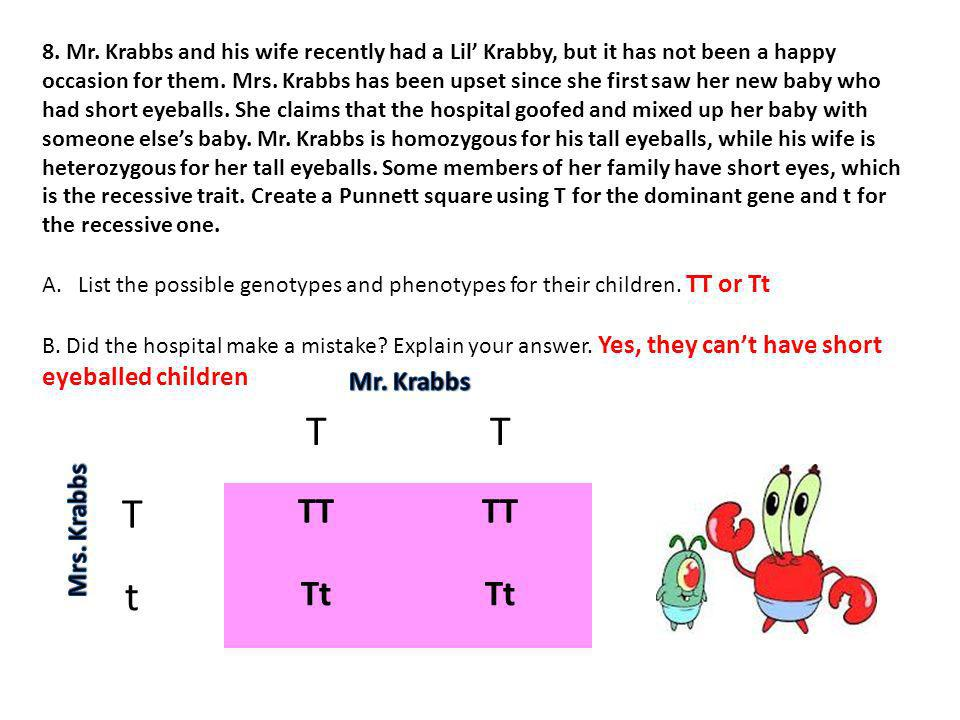 T t TT Tt Mr. Krabbs Mrs. Krabbs