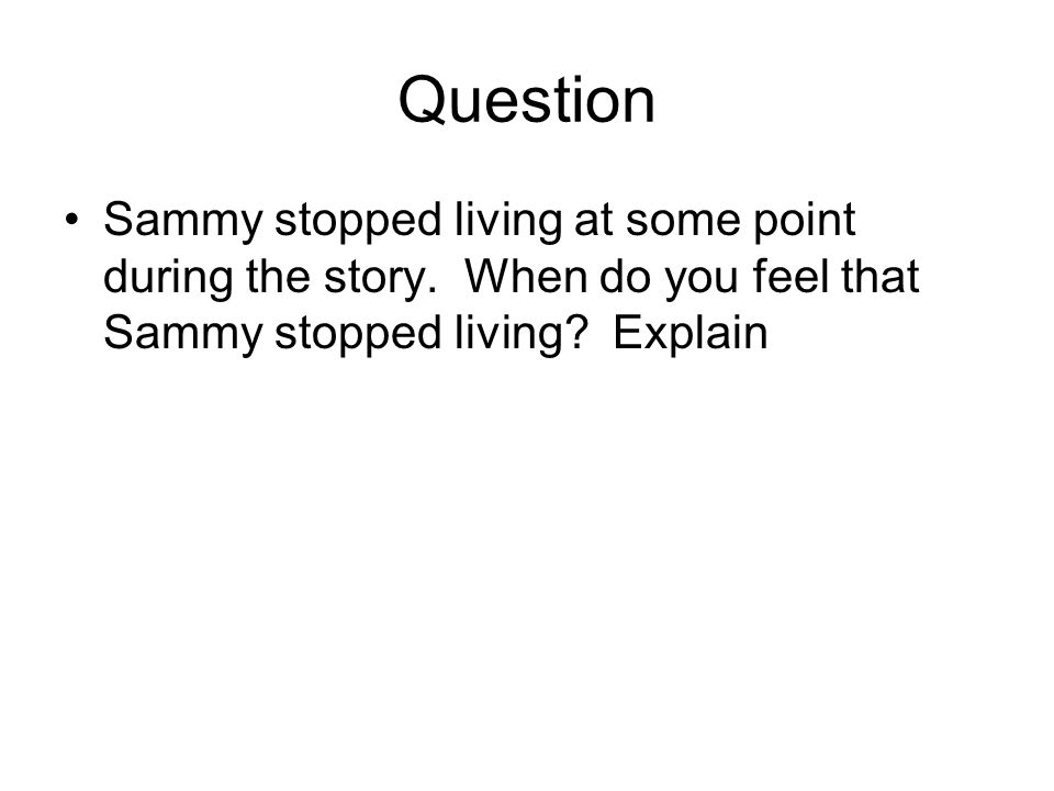 Question Sammy stopped living at some point during the story.