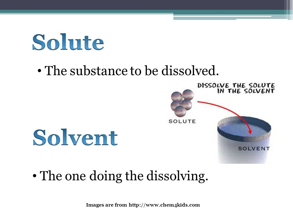 Solute Solvent The substance to be dissolved.