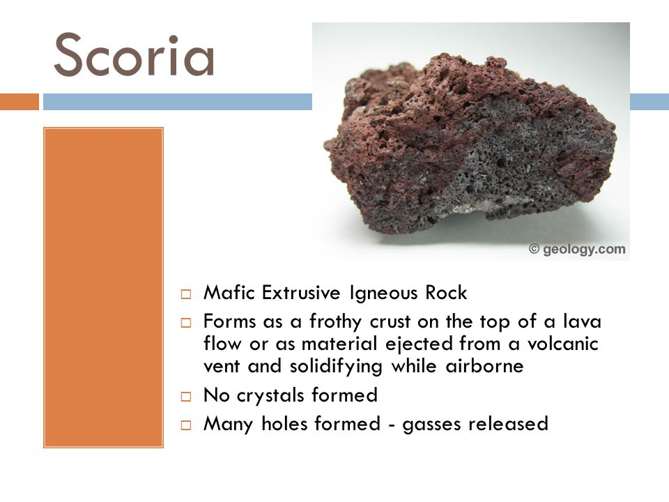Scoria Mafic Extrusive Igneous Rock