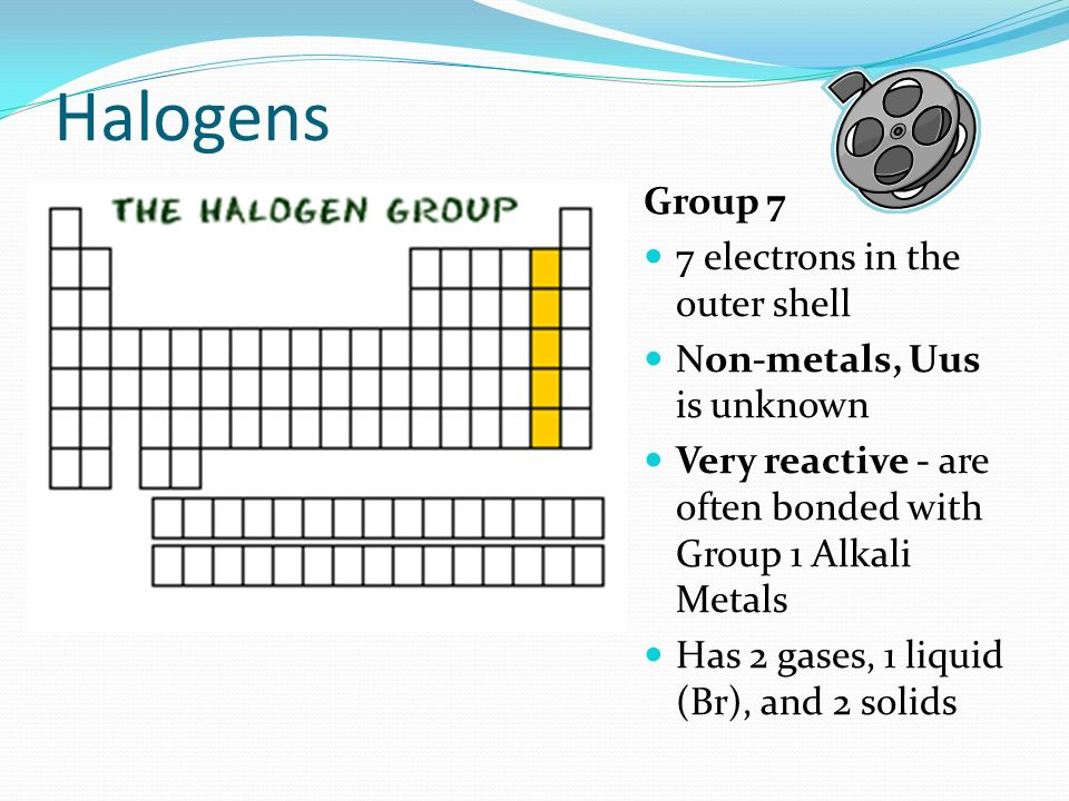 Halogens Group 7 7 electrons in the outer shell