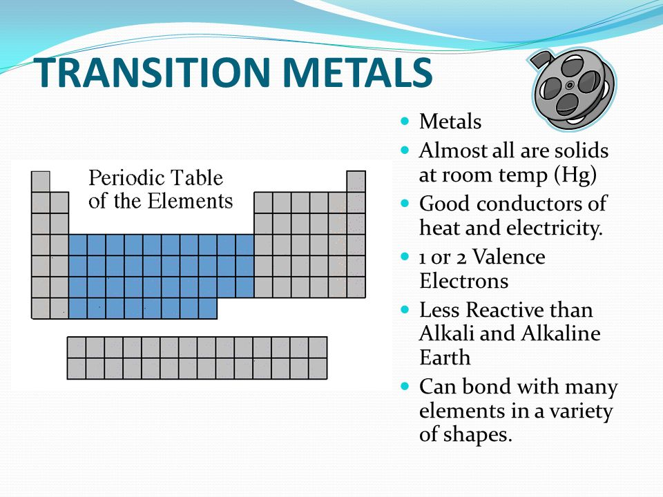 TRANSITION METALS Metals Almost all are solids at room temp (Hg)
