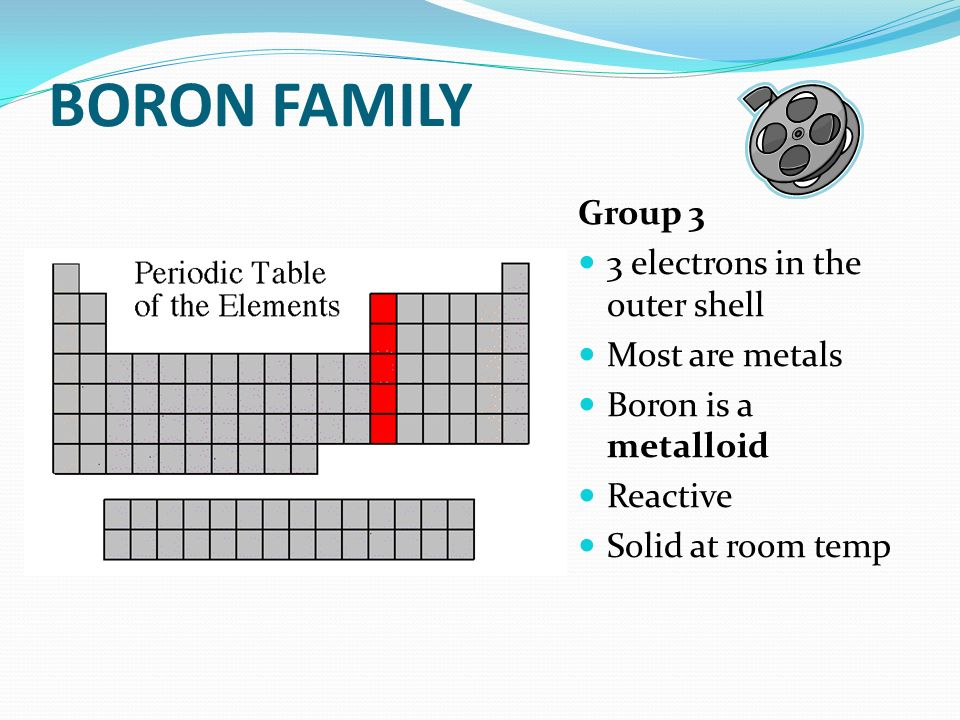 BORON FAMILY Group 3 3 electrons in the outer shell Most are metals