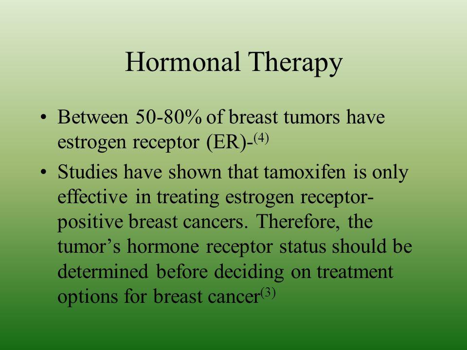 Hormonal Therapy Between 50-80% of breast tumors have estrogen receptor (ER)-(4)