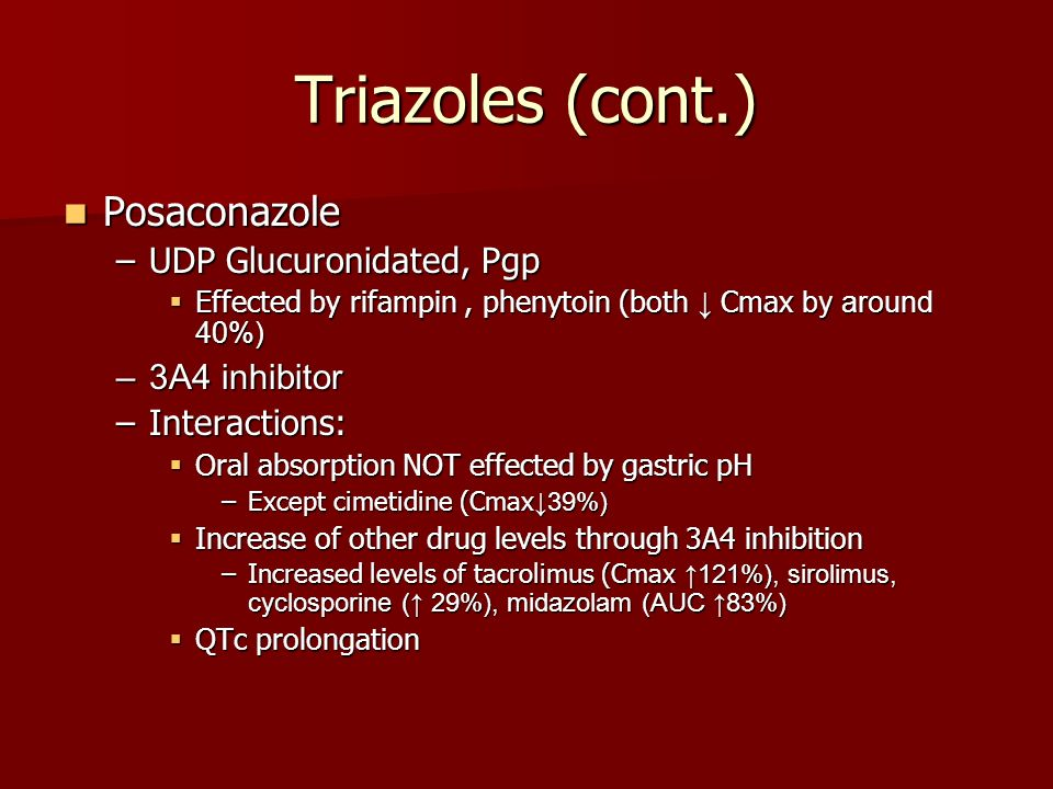 Triazoles (cont.) Posaconazole UDP Glucuronidated, Pgp 3A4 inhibitor