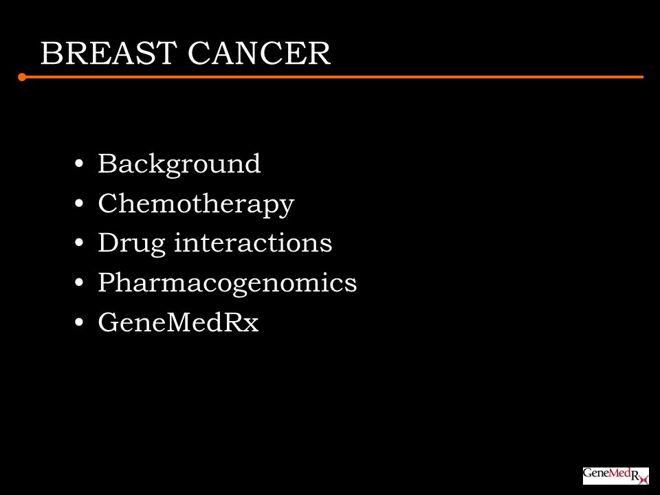 BREAST CANCER Background Chemotherapy Drug interactions