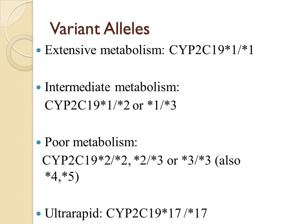 Variant Alleles Extensive metabolism: CYP2C19*1/*1