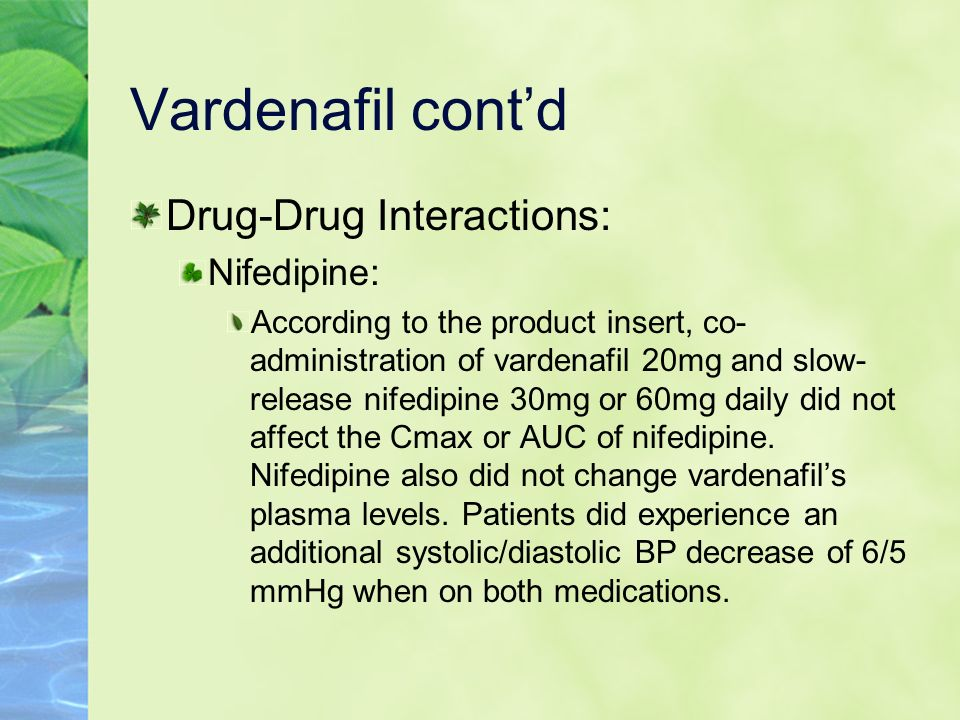 Vardenafil cont'd Drug-Drug Interactions: Nifedipine:
