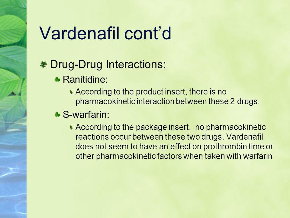 Vardenafil cont'd Drug-Drug Interactions: Ranitidine: S-warfarin: