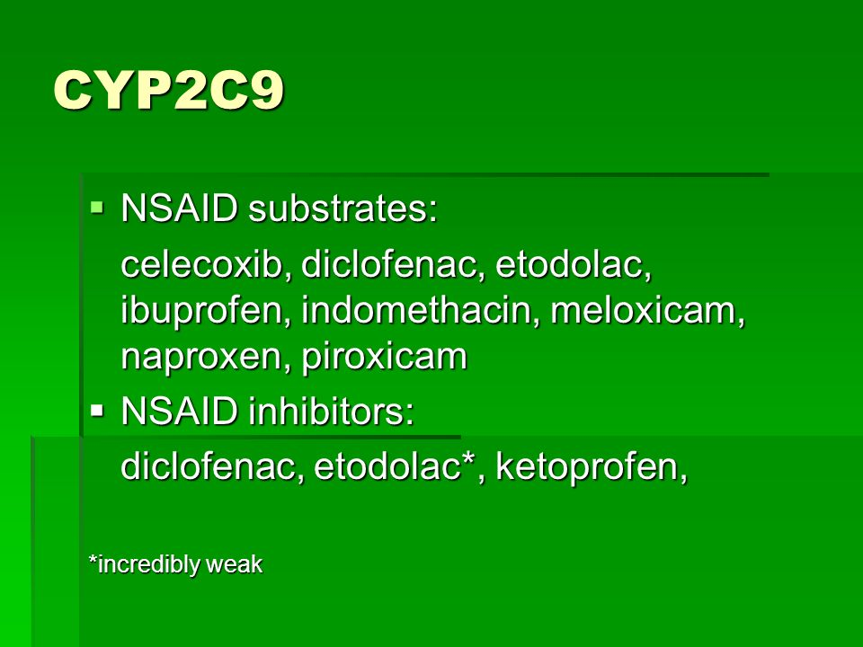 CYP2C9 NSAID substrates: