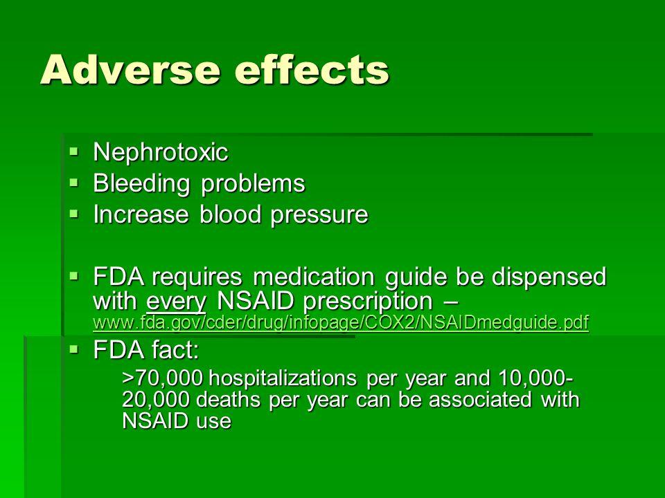 Adverse effects Nephrotoxic Bleeding problems Increase blood pressure