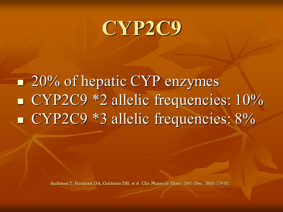 CYP2C9 20% of hepatic CYP enzymes CYP2C9 *2 allelic frequencies: 10%
