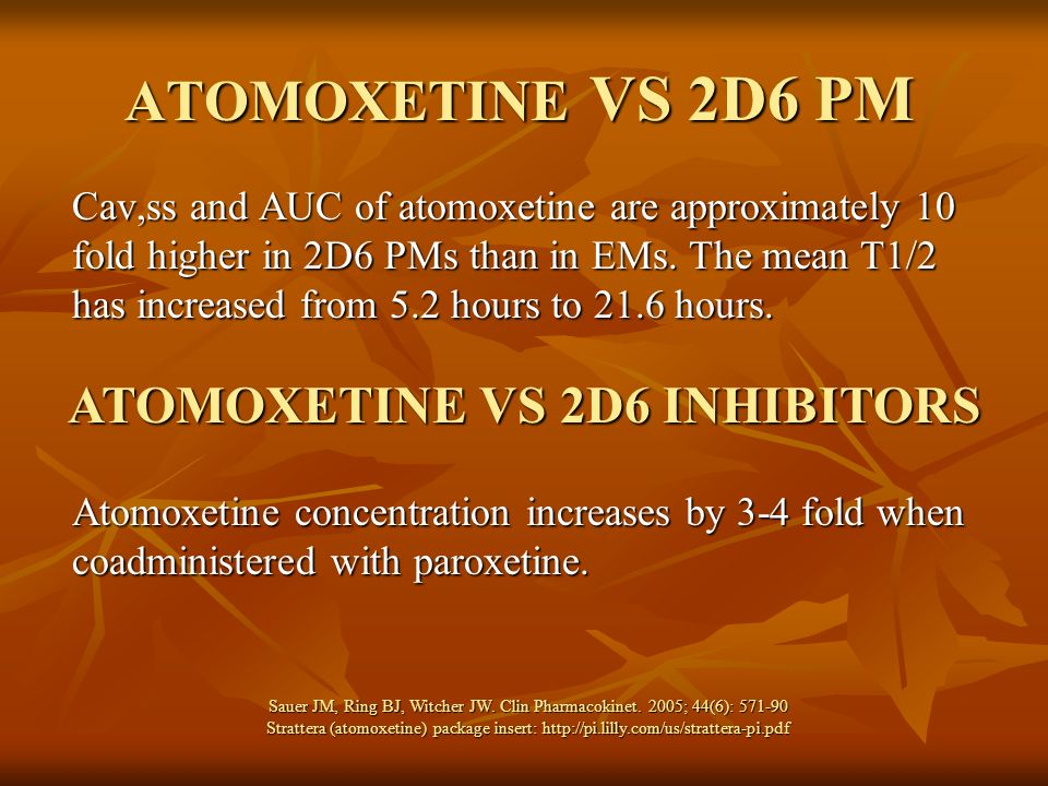 ATOMOXETINE VS 2D6 INHIBITORS