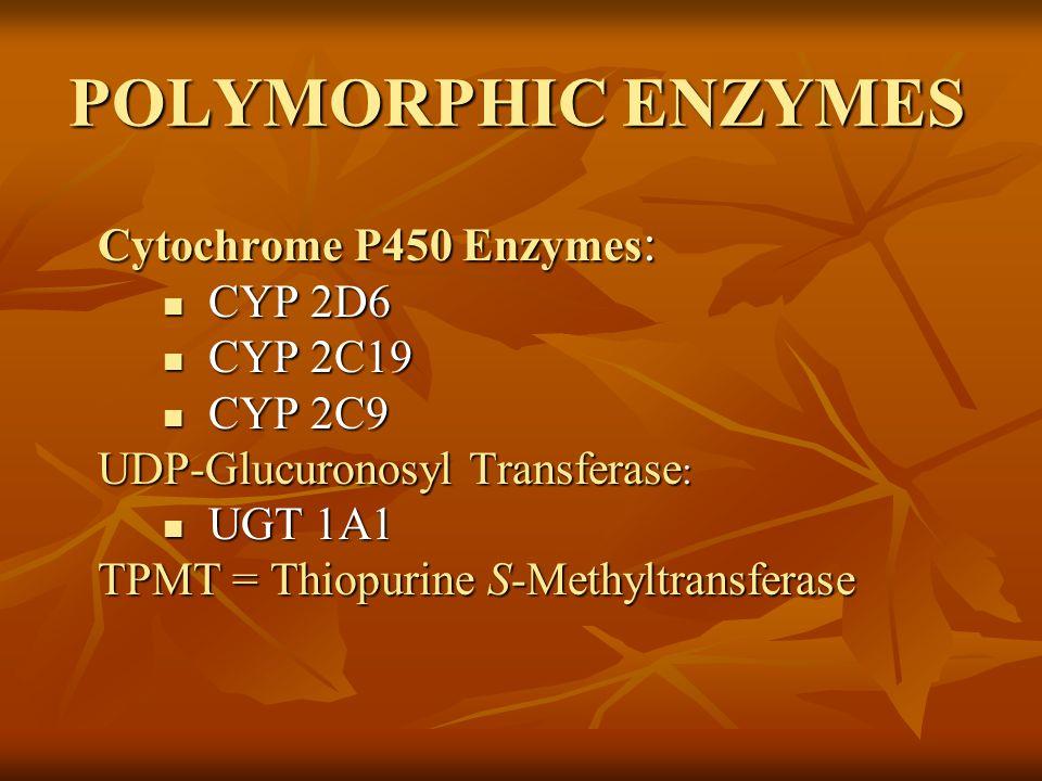 POLYMORPHIC ENZYMES Cytochrome P450 Enzymes: CYP 2D6 CYP 2C19 CYP 2C9