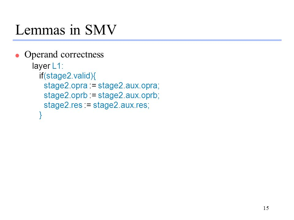 Lemmas in SMV Operand correctness layer L1: if(stage2.valid){