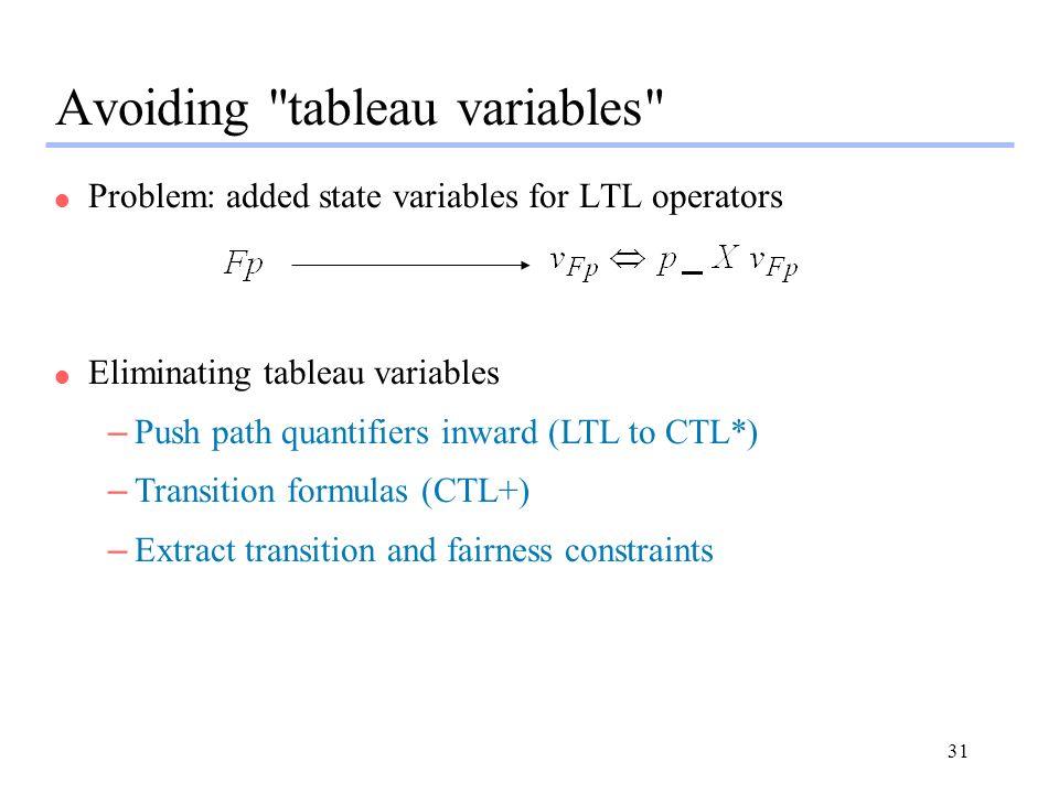 Avoiding tableau variables