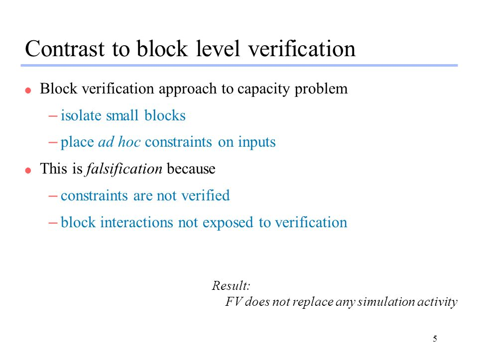 Contrast to block level verification