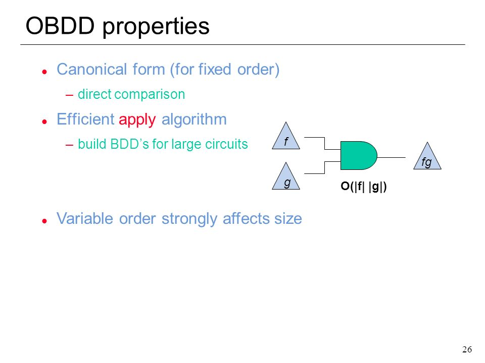 OBDD properties Canonical form (for fixed order)