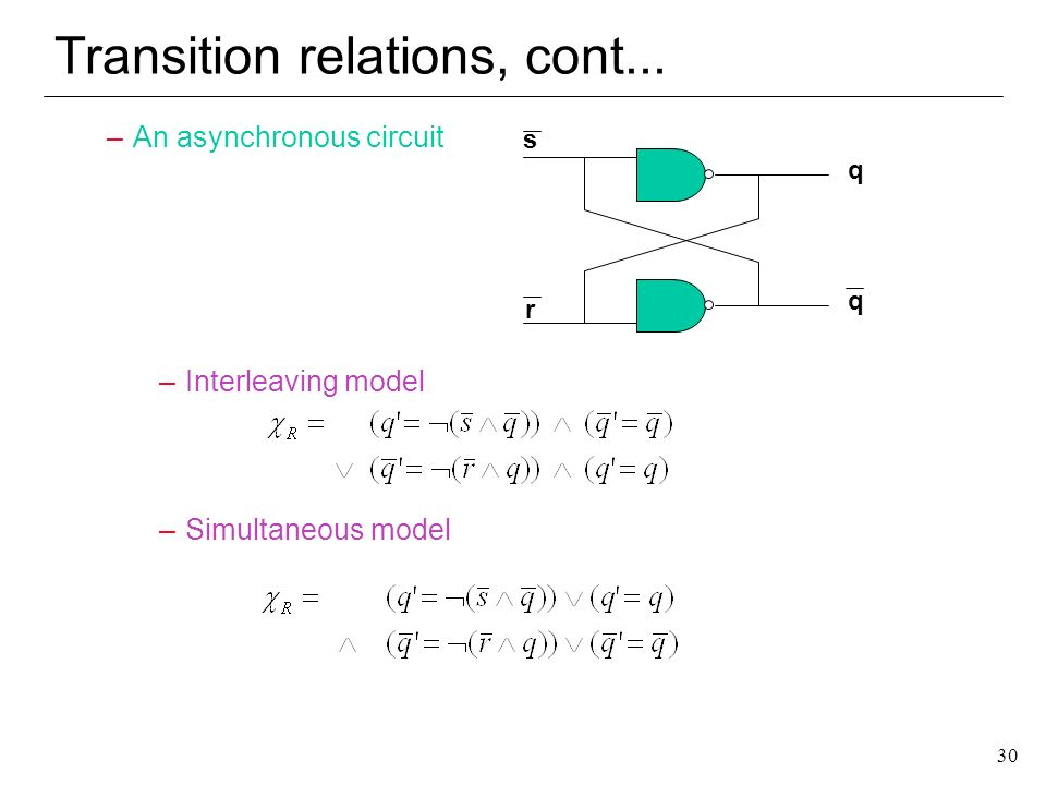 Transition relations, cont...