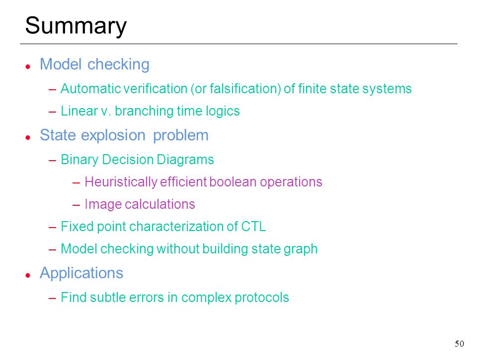 Summary Model checking State explosion problem Applications