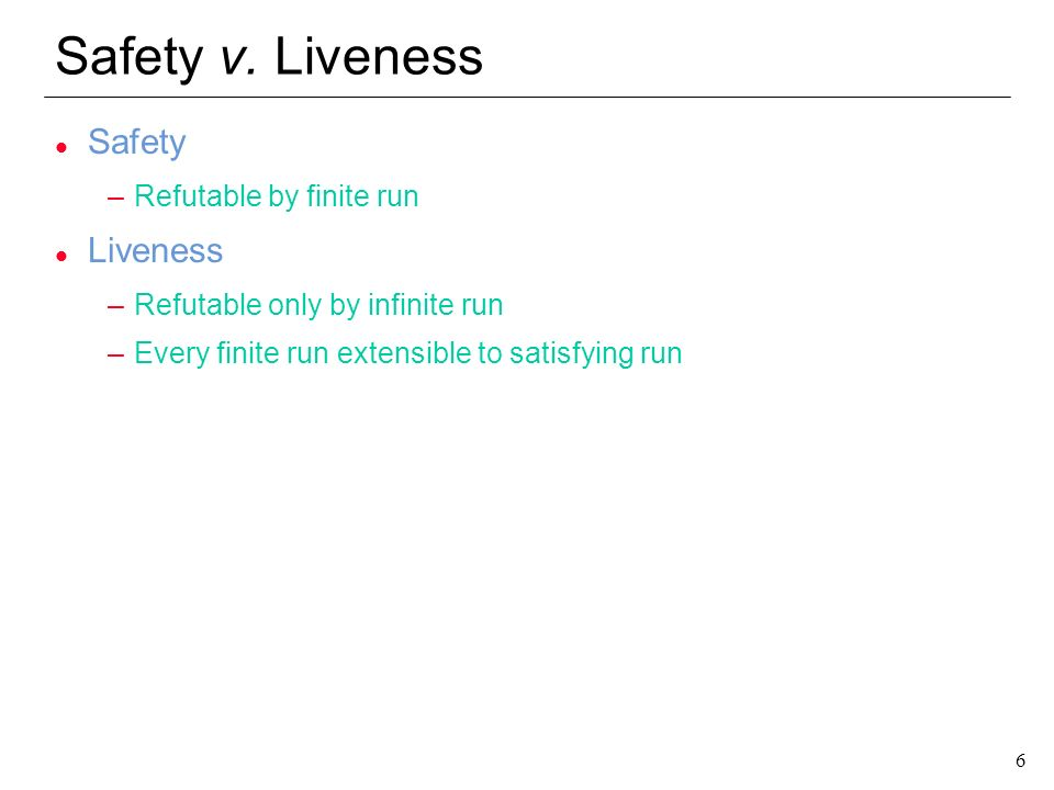 Safety v. Liveness Safety Liveness Refutable by finite run