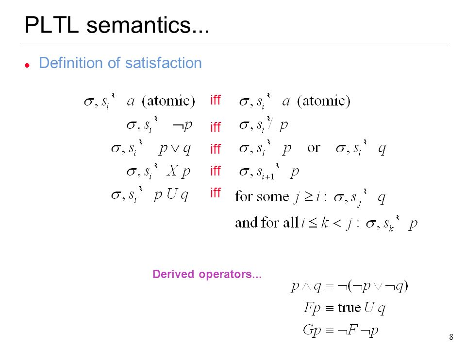 PLTL semantics... Definition of satisfaction iff Derived operators...