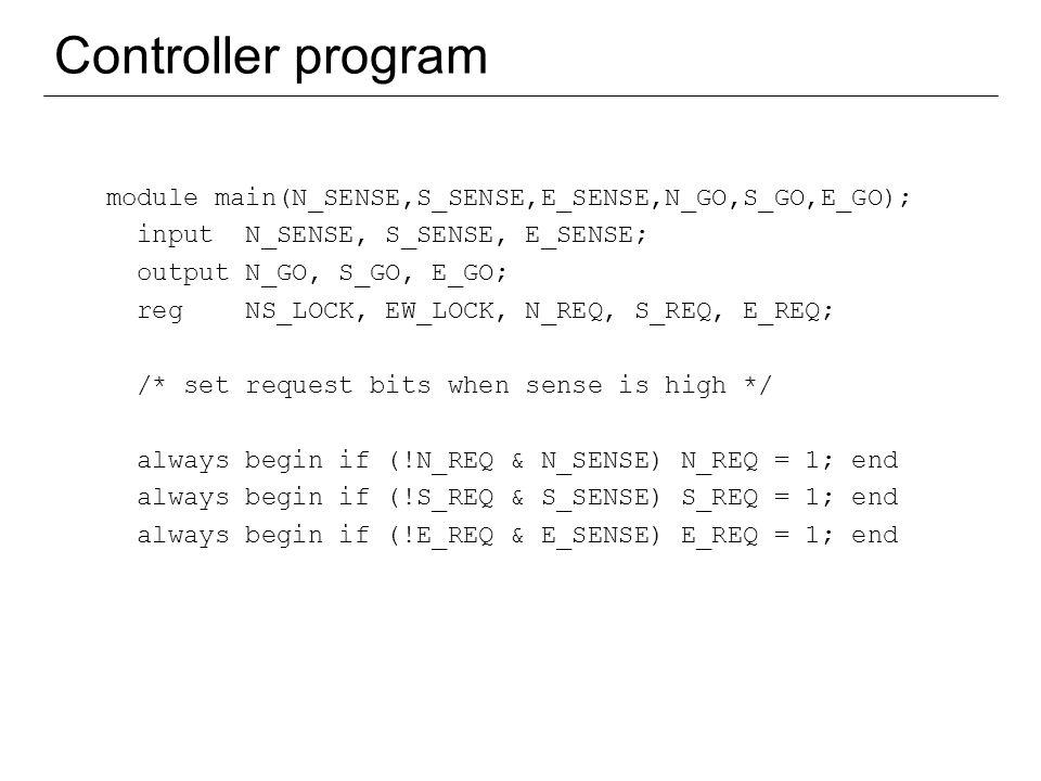Controller program module main(N_SENSE,S_SENSE,E_SENSE,N_GO,S_GO,E_GO); input N_SENSE, S_SENSE, E_SENSE;