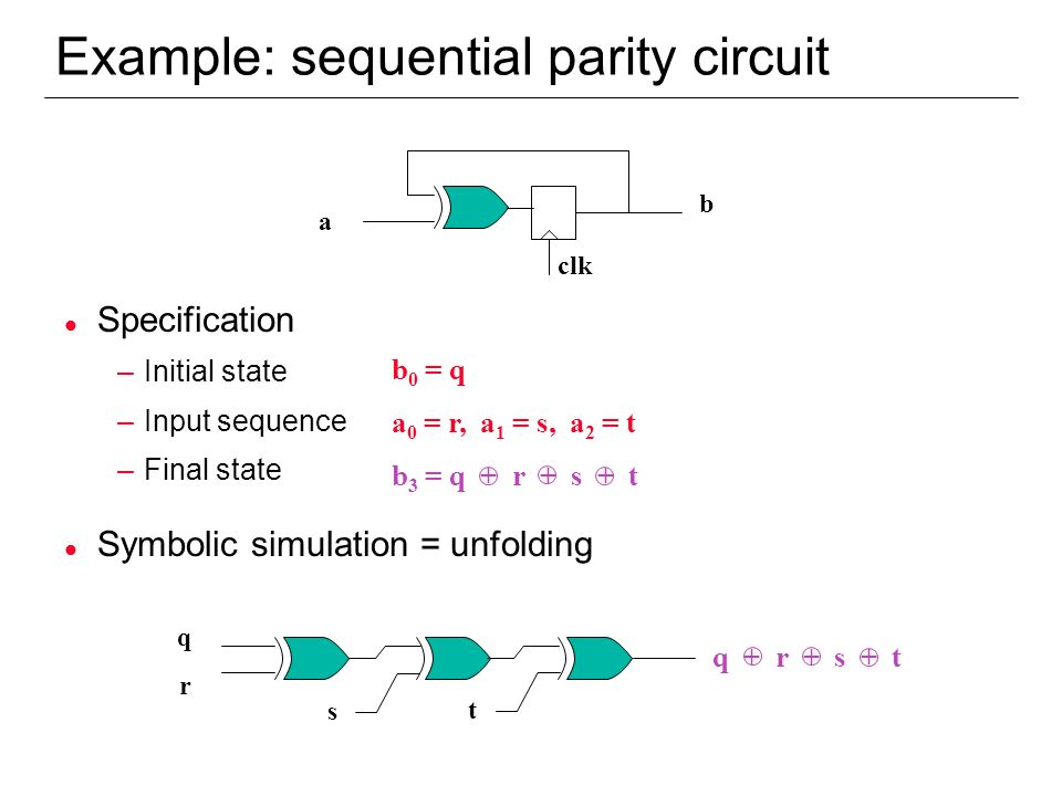 Example: sequential parity circuit