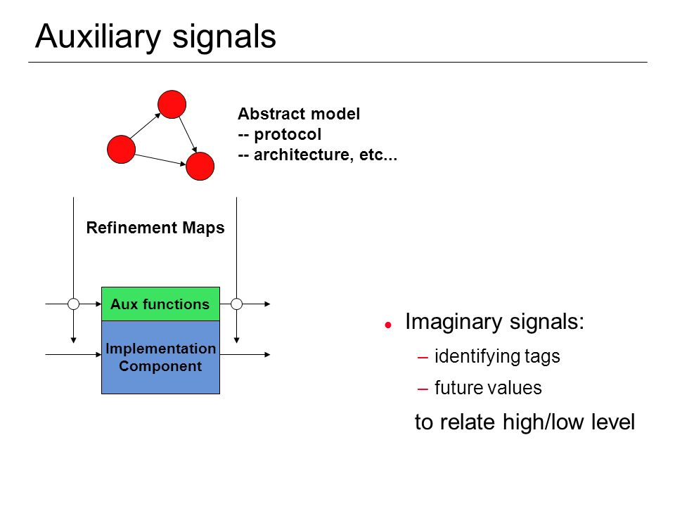 Auxiliary signals Imaginary signals: to relate high/low level
